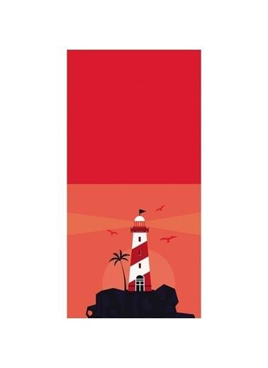 Artikel Kırmızı Kule ve Uçan Kuşlar Dekoratif Çift Taraflı Yastık Kırlent Kılıfı 45x45 cm Renkli